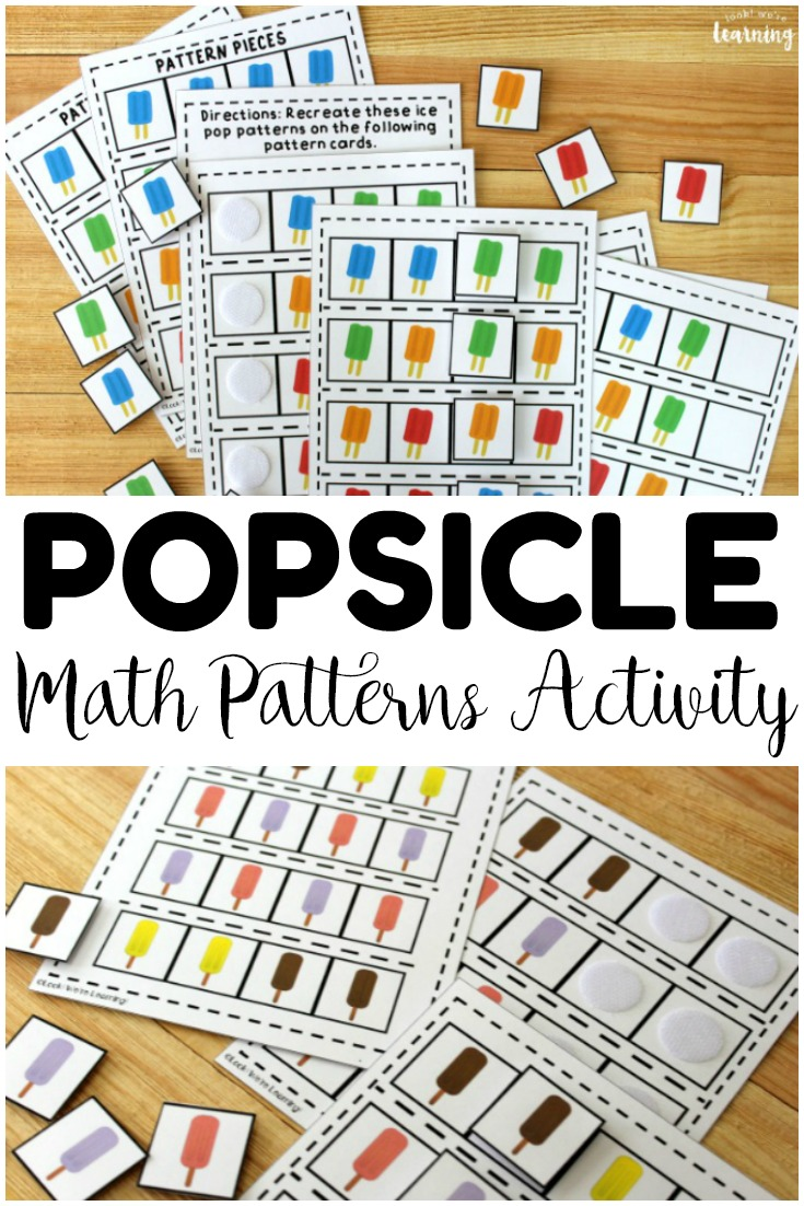 Build basic AABB and ABAB math patterns with this fun ice pop math patterns activity for early grades! Perfect for use in centers and morning tubs!