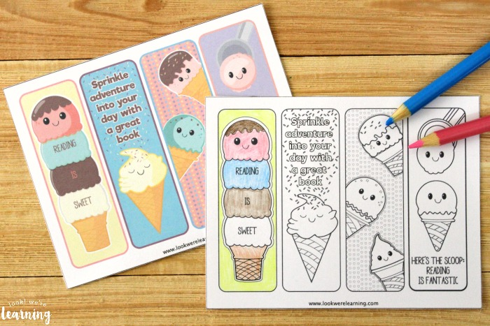 Ice Cream Printable Coloring Bookmarks for Kids