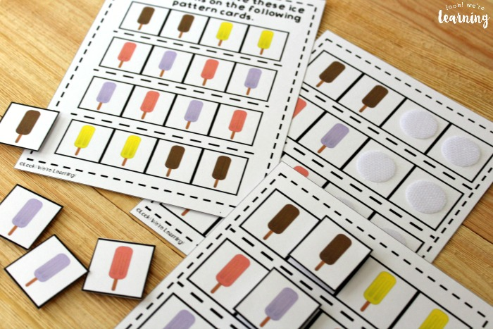 Ice Pop Math Pattern Activity for Kids