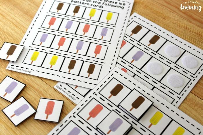 Ice Pop Math Pattern Activity for Kids
