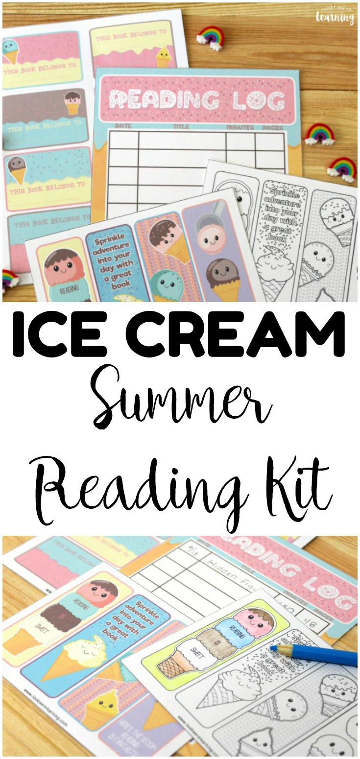 Keep kids reading this summer with this printable summer reading log! This fun ice cream themed printable reading log for kids is so fun for summer reading!