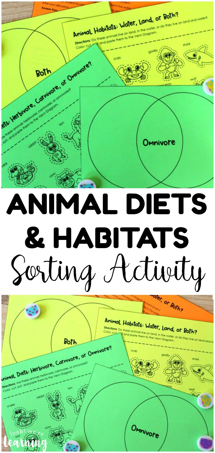 Learn about what animals eat and where they live with this fun Venn diagram animal sorting activity! Perfect for science centers and early learners too!