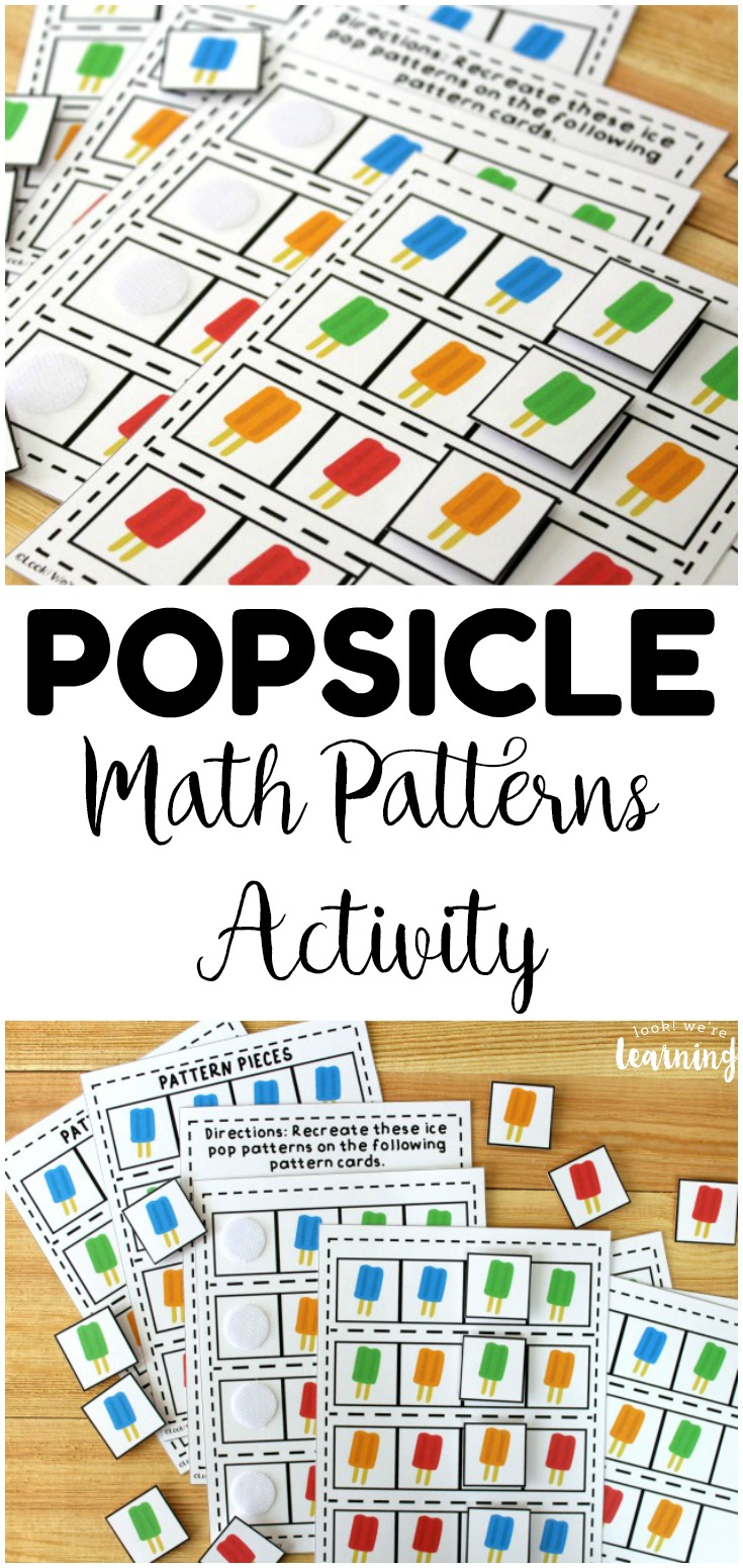 Learn to make and recognize basic math patterns with this fun ice pop math patterns activity for kids! So fun for building early math skills at centers!