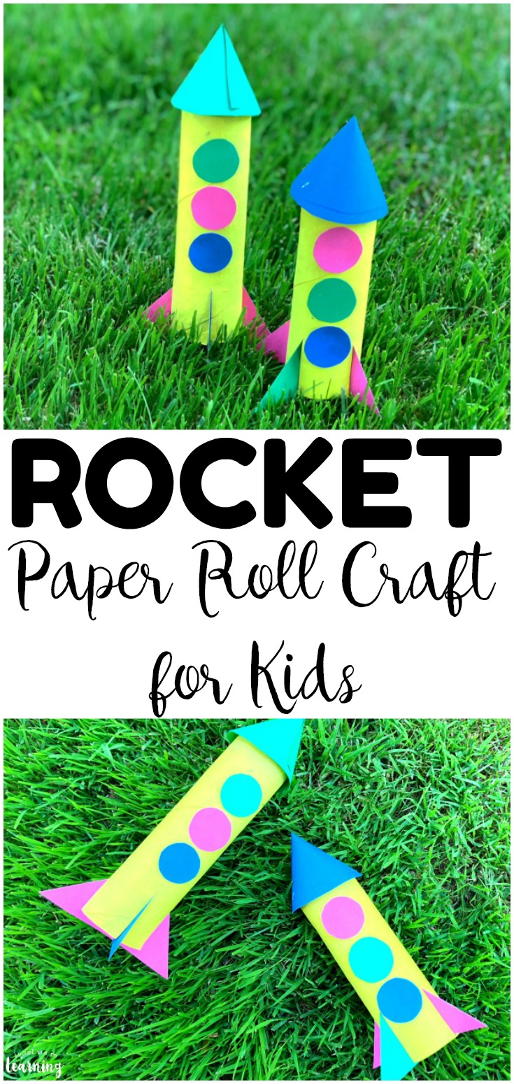 Looking for an easy summer craft for kids? Try this easy paper roll rocket craft kids can make!