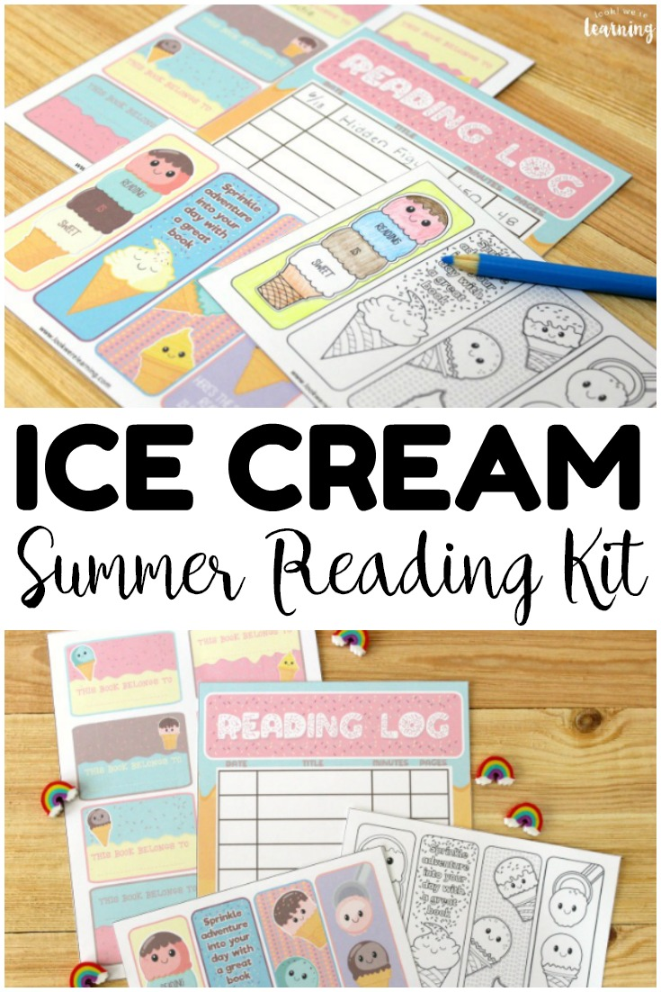 Pick up this printable ice cream reading log for kids to keep little ones reading this summer! This printable reading kits with printable bookplates, a printable summer reading log, and printable coloring bookmarks!