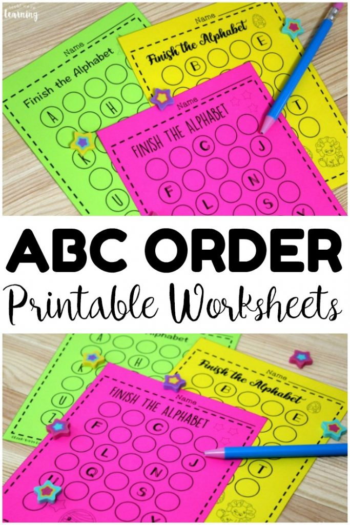 Practice helping early learners memorize the letters of the alphabet with these printable finish the alphabet worksheets for kids! Great for learning alphabetical order!