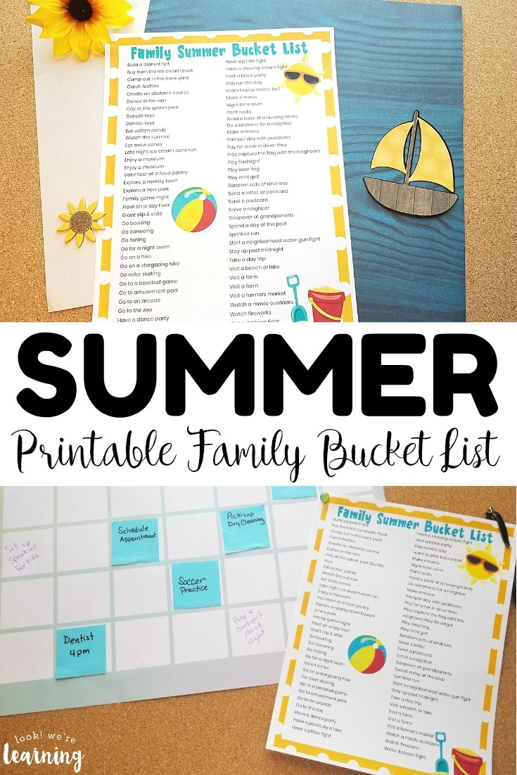 Pick up this printable family summer bucket list for some summer fun you can share with the kids!