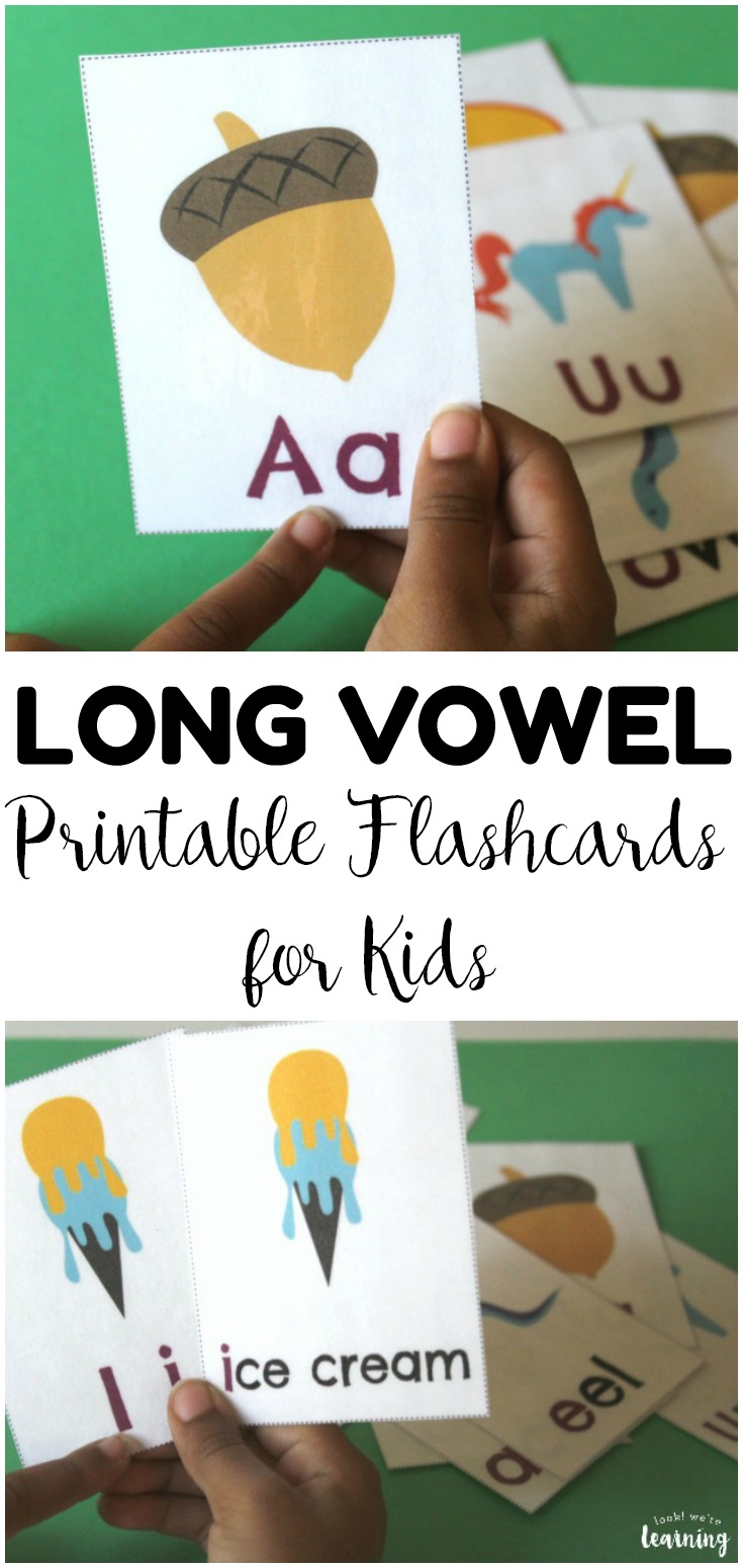 Practice basic phonics with these printable long vowel sound flashcards! These are wonderful for use with early readers!