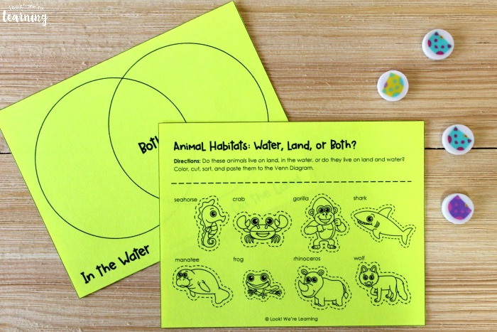Printable Animal Habitat Sorting Activity