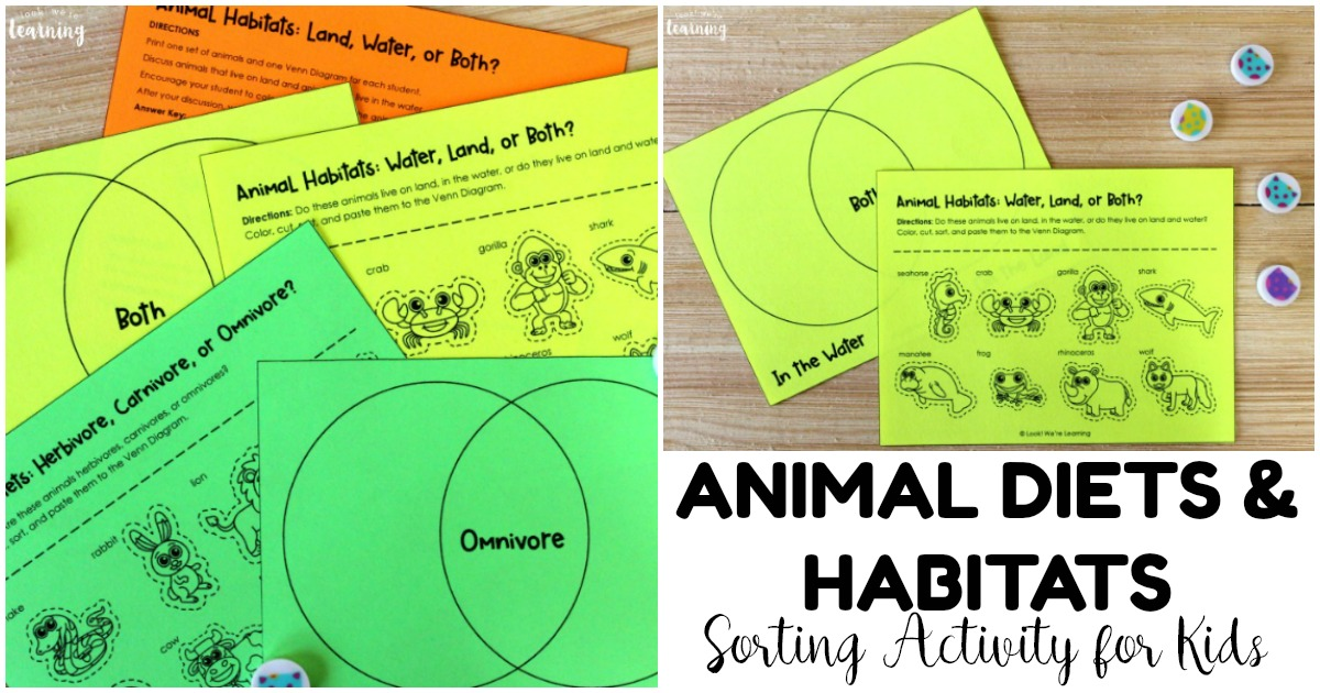 Printable Animal Sorting Venn Diagram for Kids