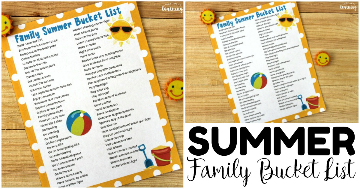 Printable Family Bucket List for Summer