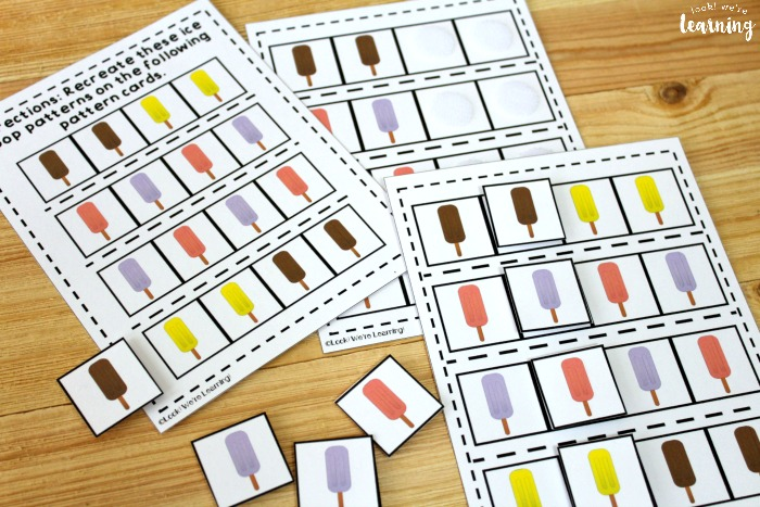 Printable Ice Pop Math Pattern Activity for Kids