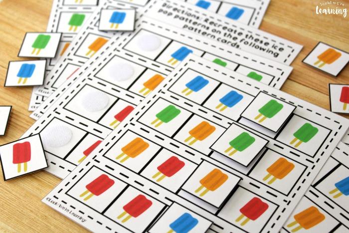 Printable Ice Pop Math Patterns Activity