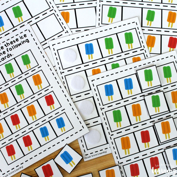 Printable Ice Pop Themed Math Pattern Lesson