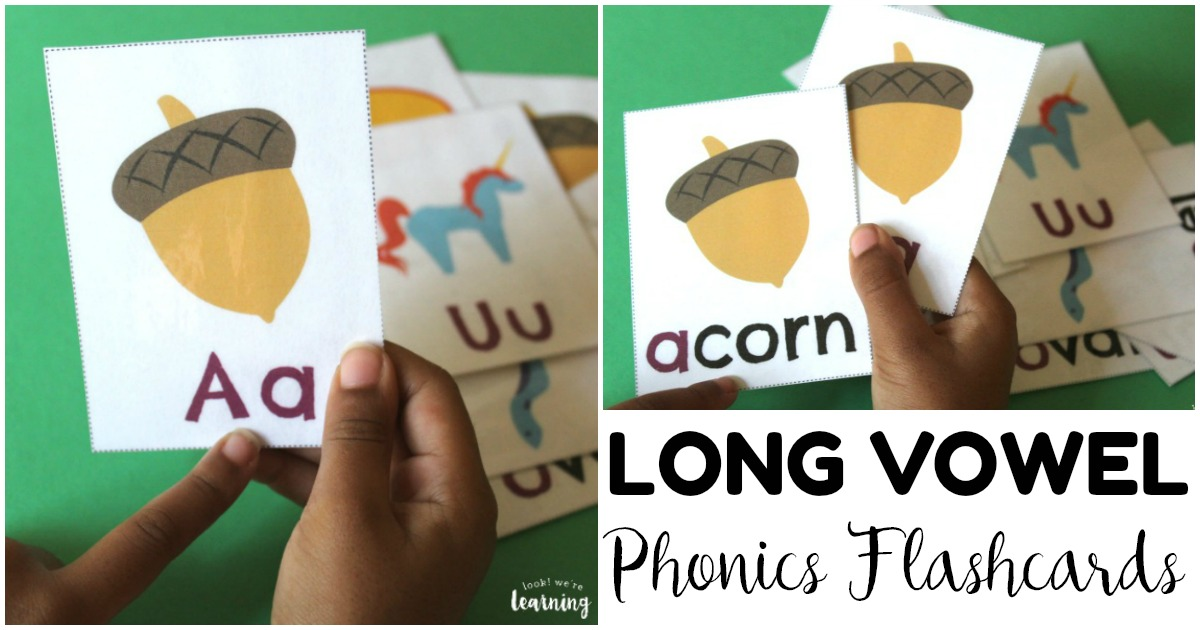 Printable Long Vowel Phonics Flashcards for Kids