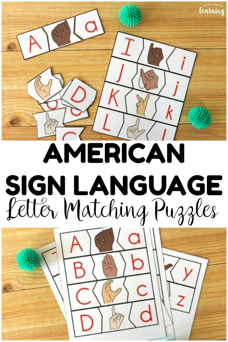 Ready to teach little ones how to sign? These fun sign language letter matching puzzles are perfect for building early signing skills!