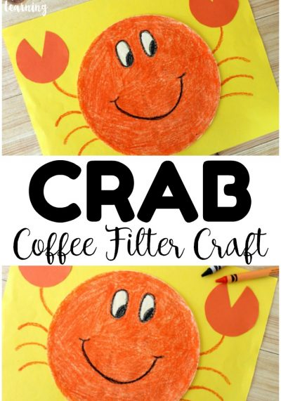 Share a fun and easy summer craft with the kids when you make this easy coffee filter crab craft! Perfect for summer afternoon crafting!