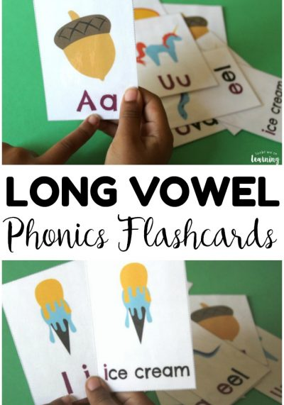 These printable long vowel phonics flashcards are an excellent literacy resource for early readers! Help kids practice sounding out long vowel sounds with pictures and words!