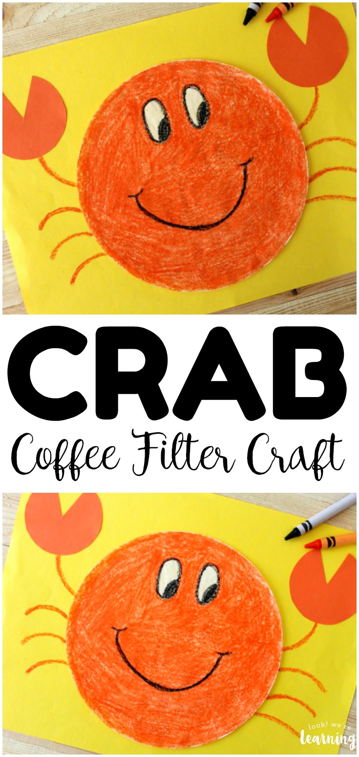 This adorable coffee filter crab craft is a perfect easy craft for summer! Even toddlers and preschoolers can help to make it!