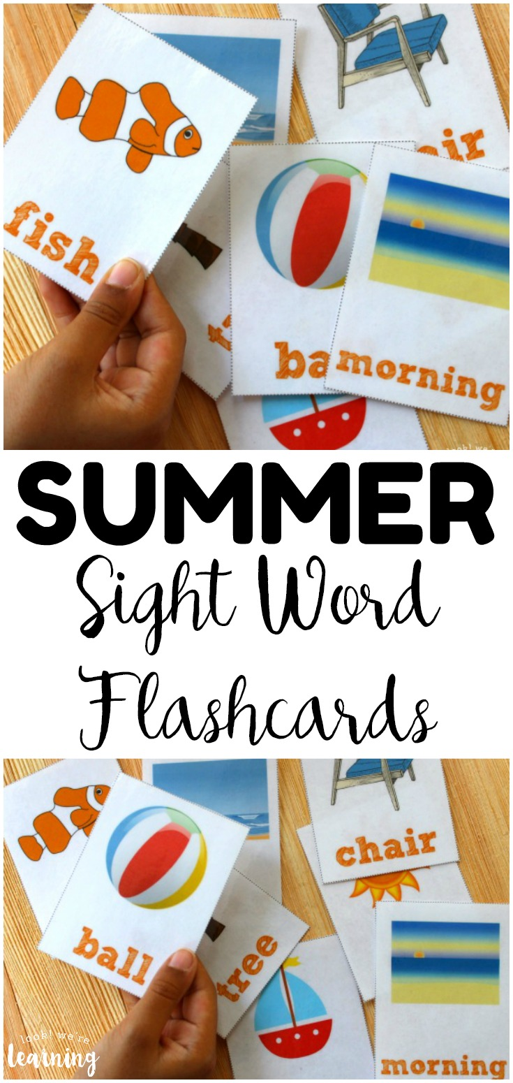 Work on early reading skills this summer with these fun printable summer sight word flashcards! These are perfect for building early literacy skills over summer break!