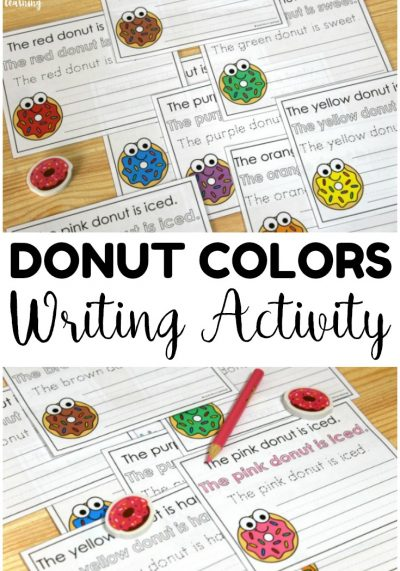 Help early writers practice naming colors and writing complete sentences with this donut colors sentence writing activity! Perfect for literacy centers!