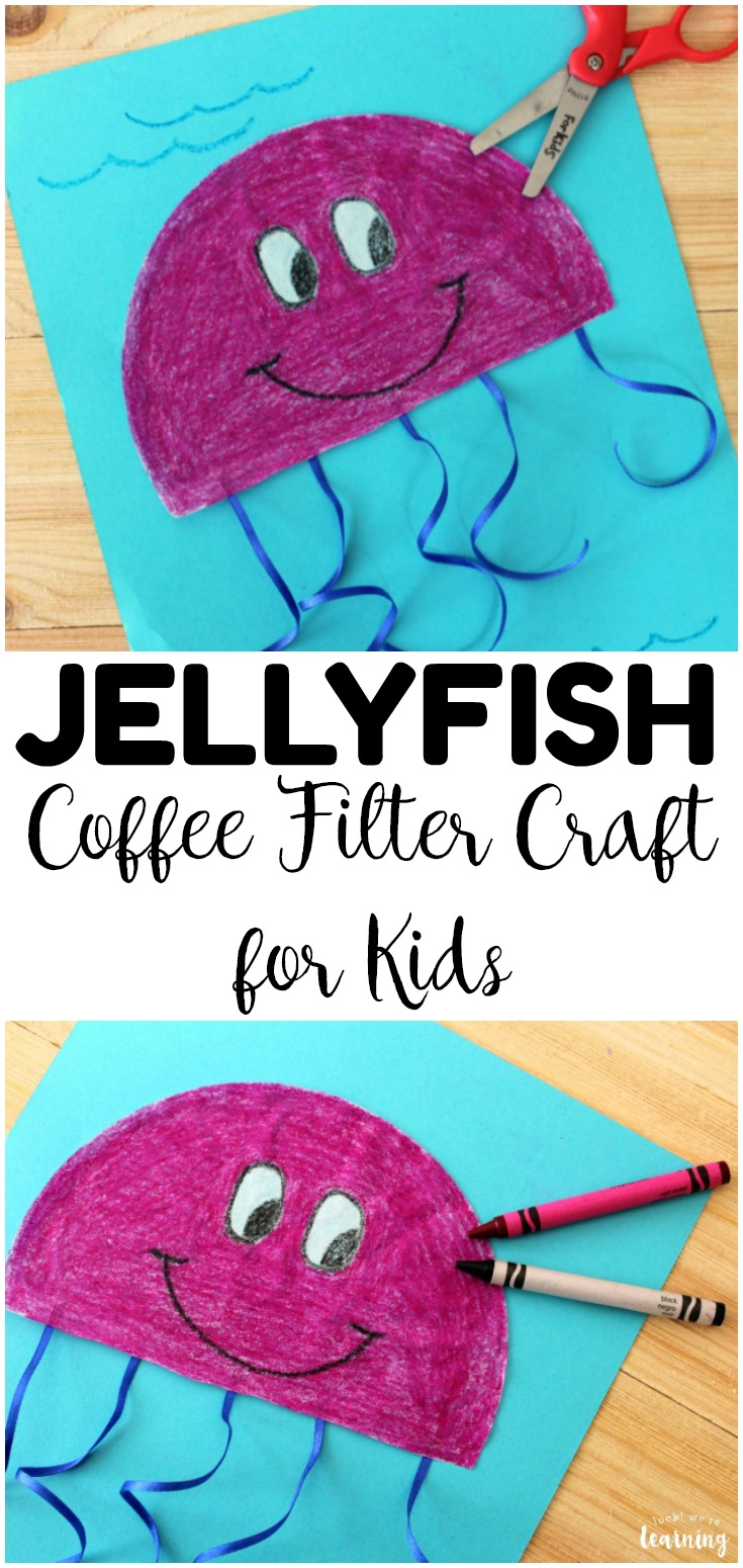 Looking for some easy summer crafts for kids? Try this simple coffee filter jellyfish craft!