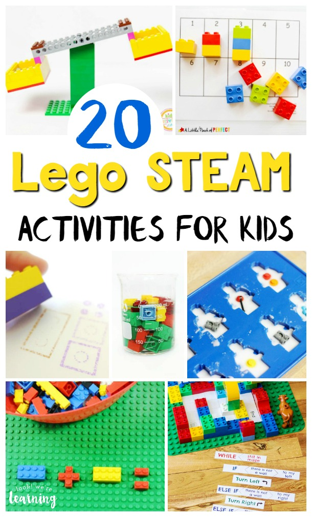 Make learning math, science, and technology fun with this list of Lego STEAM activities for kids! These easy Lego STEM activities are great for building a love of learning!