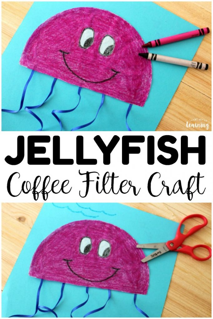This simple coffee filter jellyfish craft is a perfect easy summer craft for kids! Make a few with your little ones this summer!