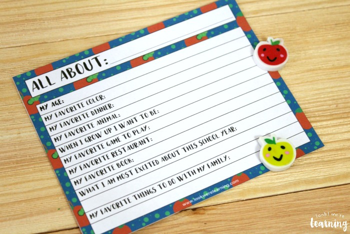 Back to School All About Me Writing Activity