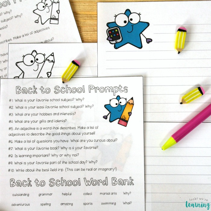 Printable Back to School Writing Prompts for Kids