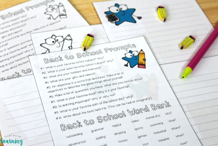 Printable Back to School Writing Prompts