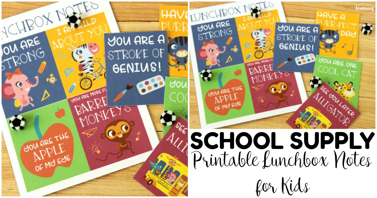 Printable School Supply Lunchbox Notes for Kids