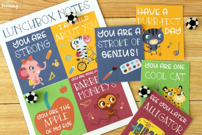 Printable School Supply Themed Lunchbox Notes for Kids