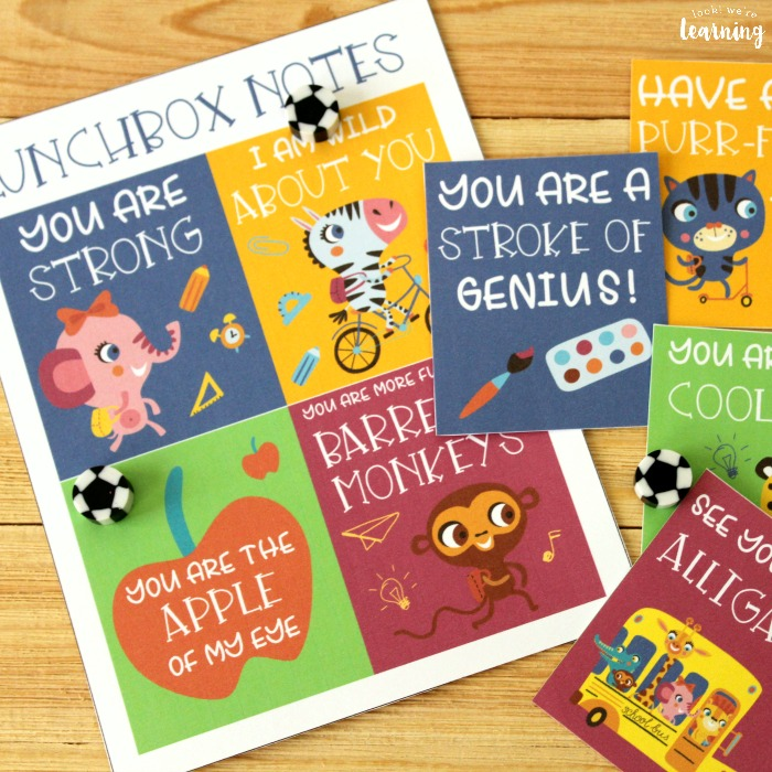 Printable School Themed Lunchbox Notes for Kids