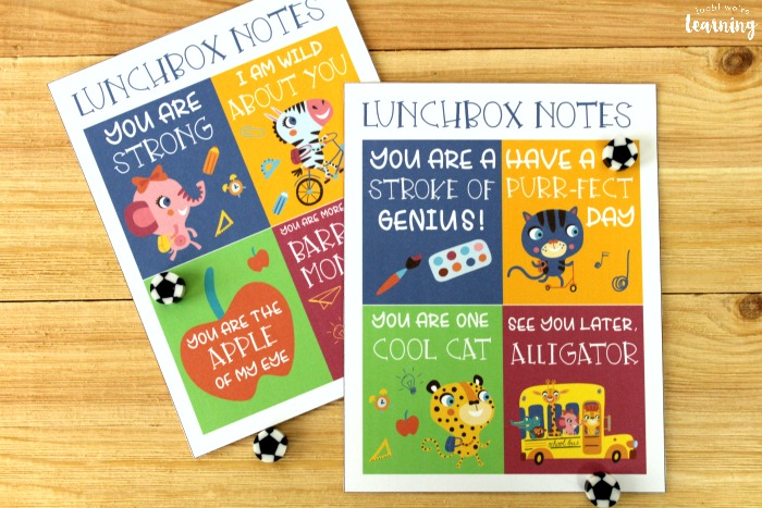School Supply Themed Lunchbox Notes for Kids