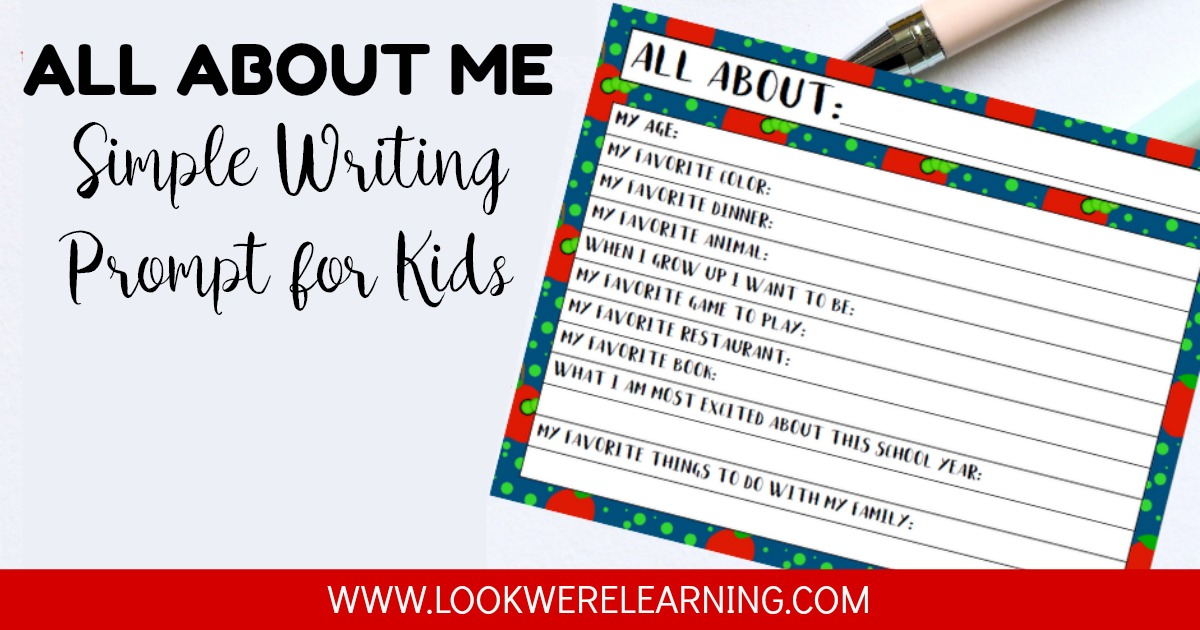 Simple All About Me Writing Prompt for Kids