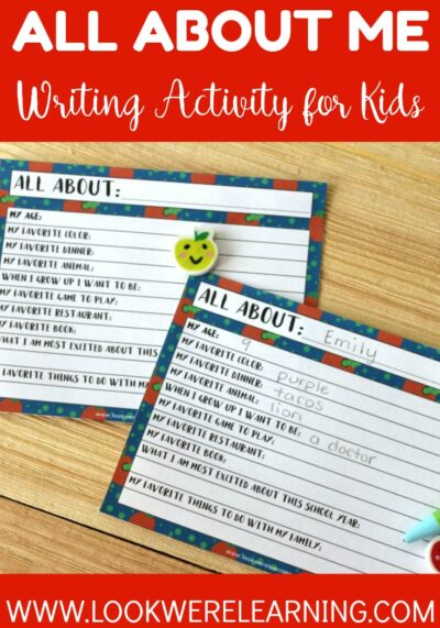 This easy all about me writing prompt for kids is a perfect back to school icebreaker for your class! Each student can use this activity to introduce themselves during the first week!