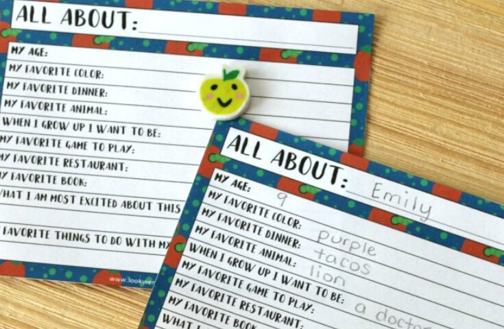 All About Me! Simple Writing Prompt for Kids