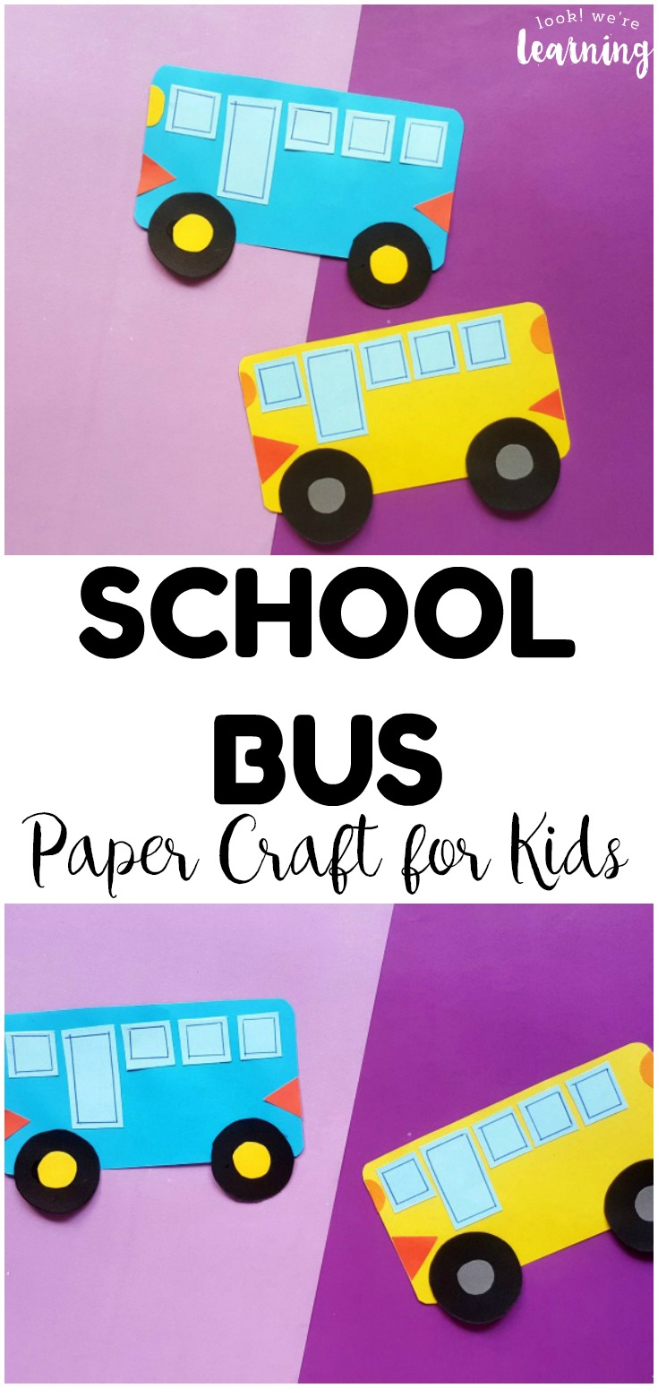 This simple paper school bus craft is such a fun back to school craft for kids! All you need is a few supplies and a few minutes to make it!