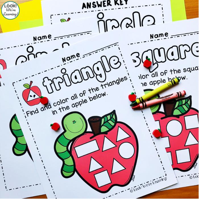 Apple Shape Activity Pages for Kindergarten
