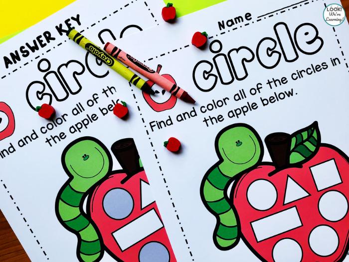 Apple Shape Sorting Worksheets for Kindergarten