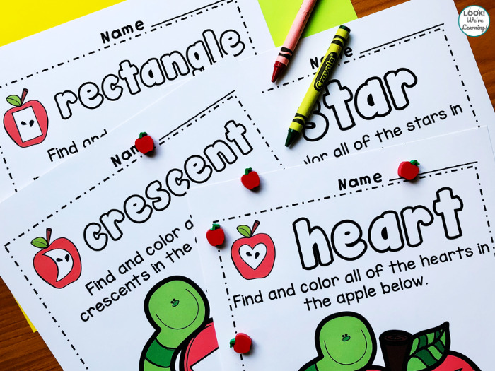Apple Themed Shape Finding Activity