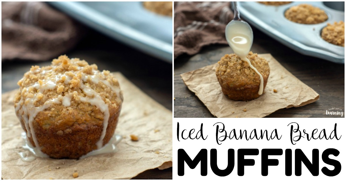 Easy Iced Banana Bread Muffins