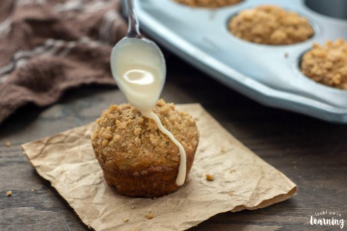 Easy Iced Banana Breakfast Muffins