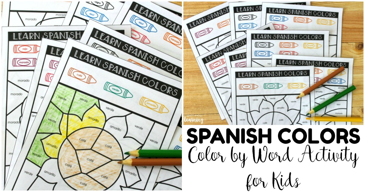 Fun Learn Spanish Colors by Word Activity for Kids