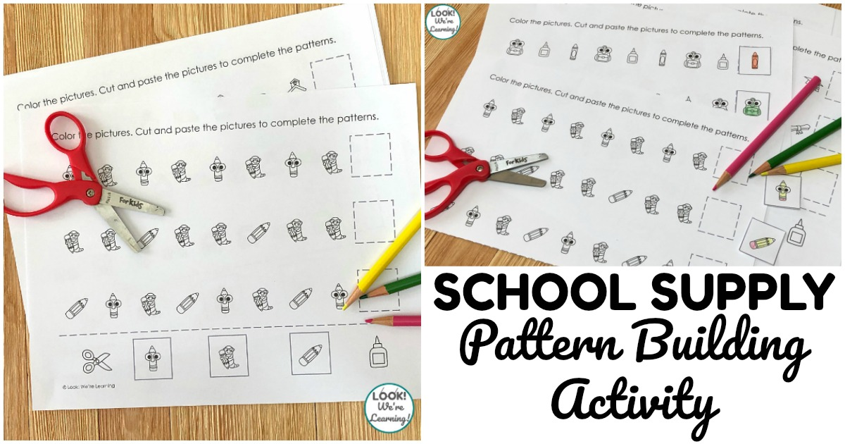 Fun School Supply Pattern Building Activity