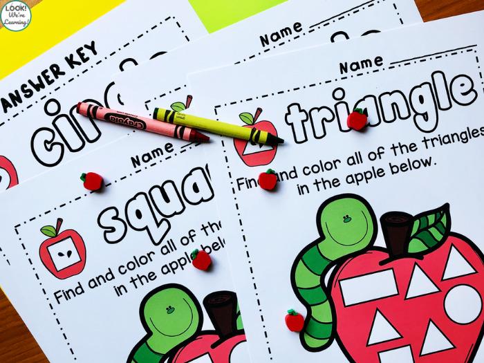 Kindergarten Shape Sorting Worksheets