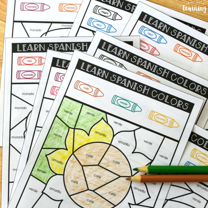 Learning Spanish Color Words Activity for Kids