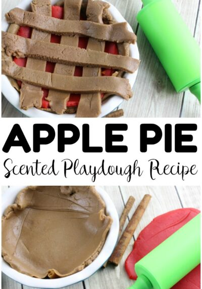 Make up a batch of this apple pie playdough to have a fun fall sensory activity with your little ones! So fun for little hands!