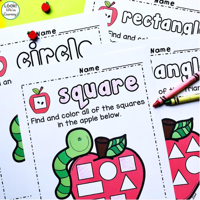 Preschool Apple Shape Sorting Worksheets